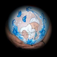 Bellypaint baby op maan in blauw www.bobellie.nl