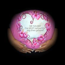 Bellypaint roze hart met bloemen www.bobellie.nl