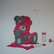 Muurschildering me to you beer in roze met gedicht www.bobellie.nl