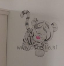 Muurschildering baby tijger www.bobellie.nl