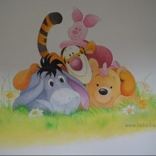 Muurschildering Winnie the Pooh and friends www.bobellie.nl