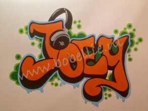 Muurschildering kinderkamer graffiti